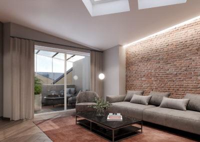 Arte ullakkoasunnot - Kaisaniemenkatu 3 A41 olohuone ja terassi 3D