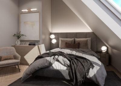 Arte ullakkoasunnot - Kaisaniemenkatu 3 asunto 4 makuuhuone 3D