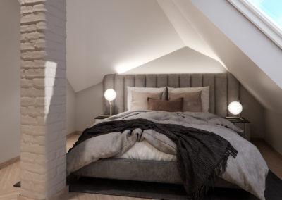 Arte ullakkoasunnot - Kaisaniemenkatu 3 B 44 makuuhuoneen 3D-kuva