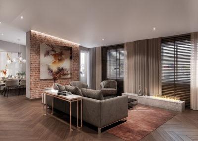 Arte ullakkoasunnot - Kaisaniemenkatu 3 asunto 4 olohuone 3D-kuva